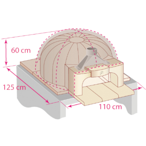 External oven dimensions for the domed shape