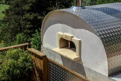 woodfired oven with steel exterior outside